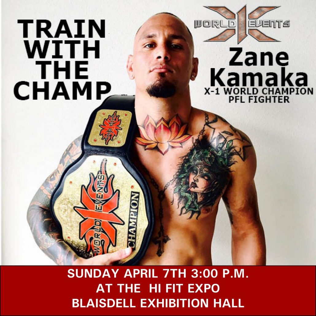 TRAIN WITH THE CHAMP ZANE KAMAKA, the champ meet and greet at HI FIT EXPO